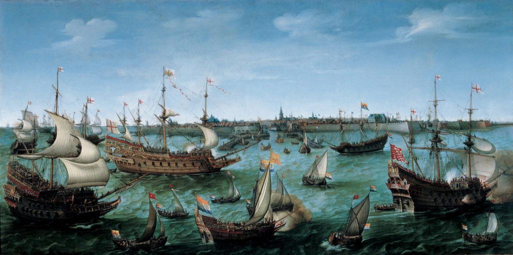 VROOM Hendrick Cornelisz The Arrival at Vlissingen of the Elector Palatinate Frederick V 1024x510 - Inspiration Marinière : du matelot à nos tricots