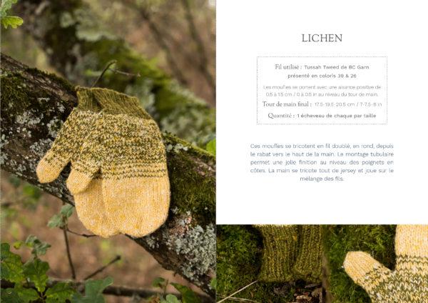 livre nature moufles lichen1 600x424 - Nature garde-robe tricotée (livre)